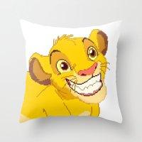 simba Throw Pillows featuring Simba Pixel Art by Luxatr