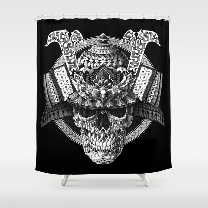 Samurai Skull Shower Curtain by bioworkz | Society6