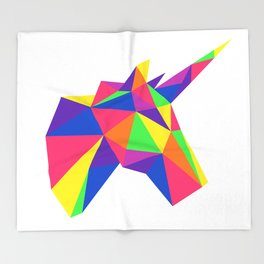 Rainbow Unicorn Geometric Design Throw Blanket