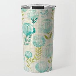 Vintage Aqua Blossoms Travel Mug