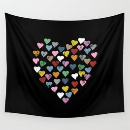 Distressed Hearts Heart Black Wall Tapestry