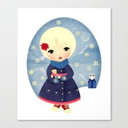 Rosy Snowflakes Canvas Print