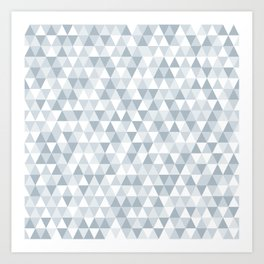 shades of ice gray triangles pattern Art Print