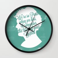 louis tomlinson Wall Clocks featuring Louis Tomlinson Silhouette  by Holly Ent