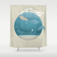 Seagull rest over whale Shower Curtain