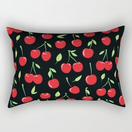 Cheerful cherry pattern. Colorful cherries on black Rectangular Pillow