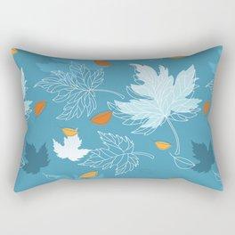 Lovely blue sky illustration with autumn leaves pattern  Rectangular Pillow