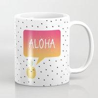 aloha Mugs featuring Aloha by Elisabeth Fredriksson
