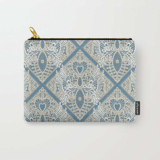 love bird lace blue Carry-All Pouch