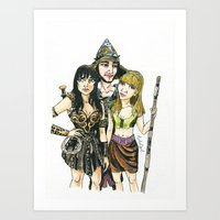 xena Art Prints featuring Xena by Arlie Opal