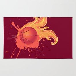 Grunge Flaming Basketball Rug