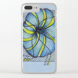 Zentangle Blue Yellow Flower Clear iPhone Case