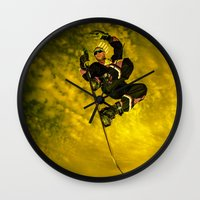 snowboarding Wall Clocks featuring Snowboarding #1  by Bruce Stanfield