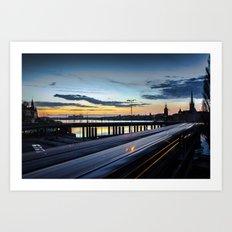 Stockholm Night - Slussen Art Print