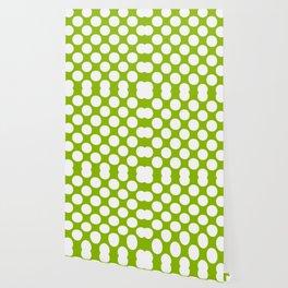 White & Apple Green Spring Polka Dot Pattern Wallpaper