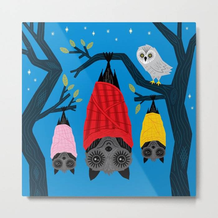 Bats in Blankets Metal Print