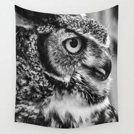 Bird Photography | Owl Black and White Minimalism | Wildlife | By Magda Opoka Wall Tapestry