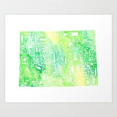 Typographic Colorado - green watercolor Art Print