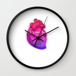Aesthetic Heart Vaporwave Heart with japanese Text Wall Clock