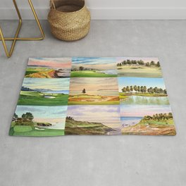 Famous Golf Courses In The USA Collage Rug