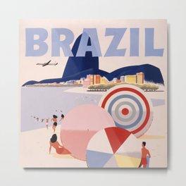 Vintage Brazil Poster Metal Print
