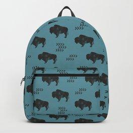 distressed buffalo on slate blue Backpack