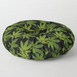 Cannabis Leaf - Black Floor Pillow