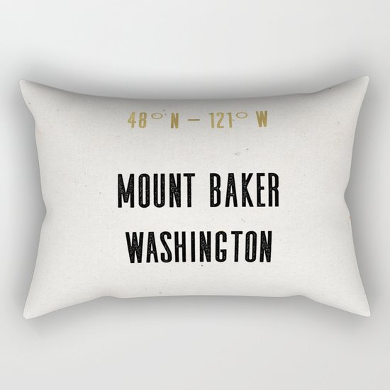 Mount Baker Washington Location Map Print Rectangular Pillow