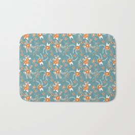 Holiday Floral Blue Orange  #holiday #Christmas Bath Mat