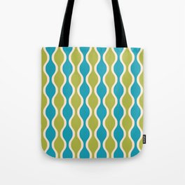 Classic Retro Ogee Pattern 852 Turquoise and Olive Tote Bag