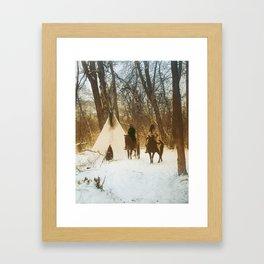The winter camp - Crow (Apsaroke) Indians Framed Art Print