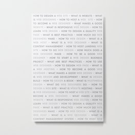 Web Design Keywords Poster. Grey. Metal Print