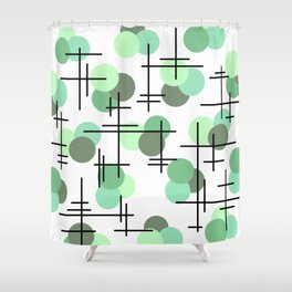 Atomic Age Molecules 5 Mint Green Sage Shower Curtain
