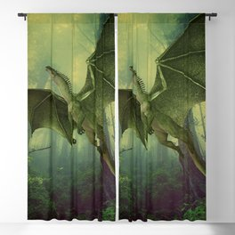 Awesome Marvelous Dragon Flying In Green Forest Clearing Ultra HD Blackout Curtain