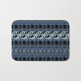 Black blue braided textiles . Bath Mat