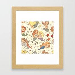 Cute Vintage Style Bff Mermaids Seamless Pattern Framed Art Print
