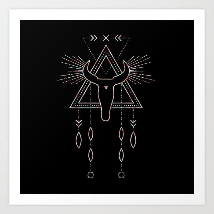 Mandala Tribal Bull Art Print