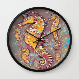 PUTTY GREY & GOLD SEA HORSES BEACH ART Wall Clock