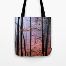 Foggy fall forest photography Tote Bag