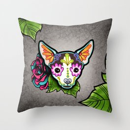 Chihuahua in Moo - Day of the Dead Sugar Skull Dog Throw Pillow