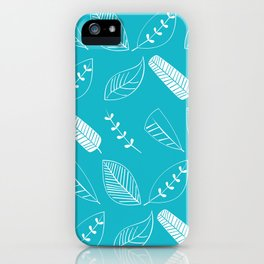Leaves on turquoise II iPhone Case