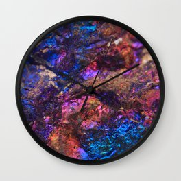 Blue Rainbow Oil Slick Crystals Wall Clock