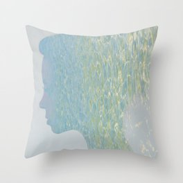 Portrait of a woman and ocean ripples Throw Pillow