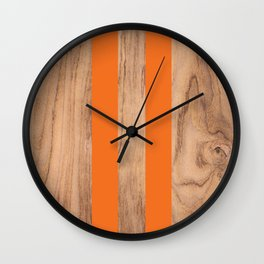 Wood Grain Stripes - Orange #840 Wall Clock
