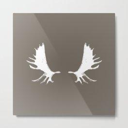Moose Antlers Silhouettes in Driftwood Brown Metal Print