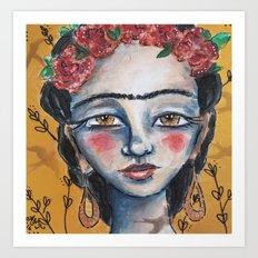 Golden Frida Art Print