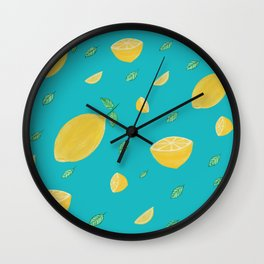 Mellow lemon yellow Wall Clock
