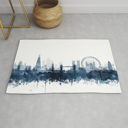 London City Skyline Blue Watercolor by zouzounioart Rug
