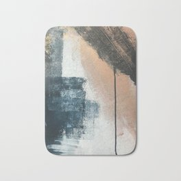 Honey 1: a pretty, minimal abstract in midnight blue, rose gold, and white Bath Mat