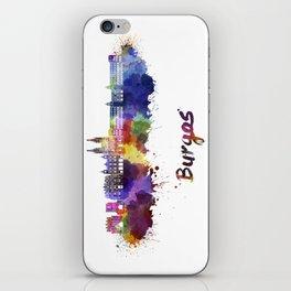 Burgos skyline in watercolor iPhone Skin